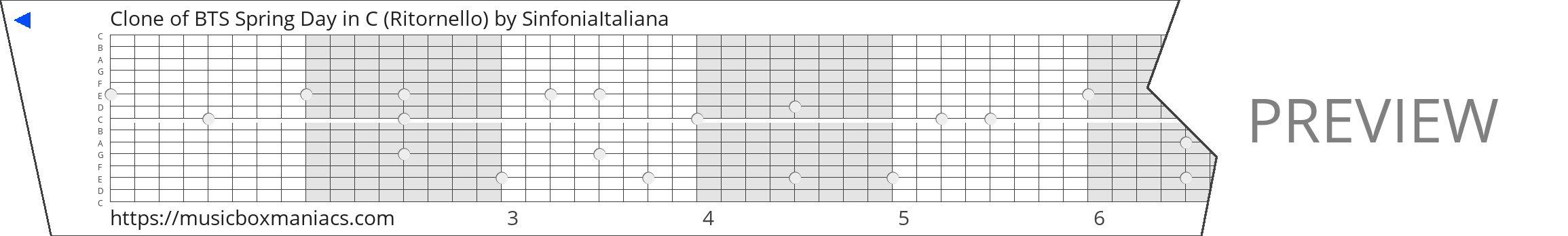 Clone of BTS Spring Day in C (Ritornello) 15 note music box paper strip