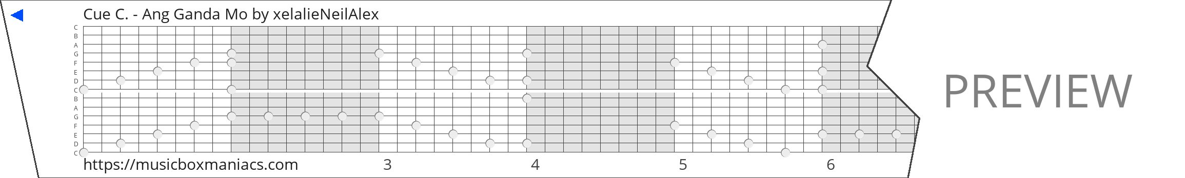 Cue C. - Ang Ganda Mo 15 note music box paper strip