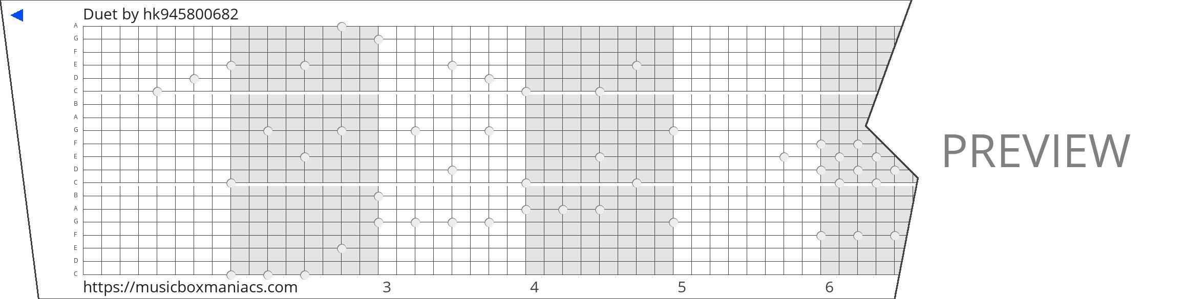 Duet 20 note music box paper strip