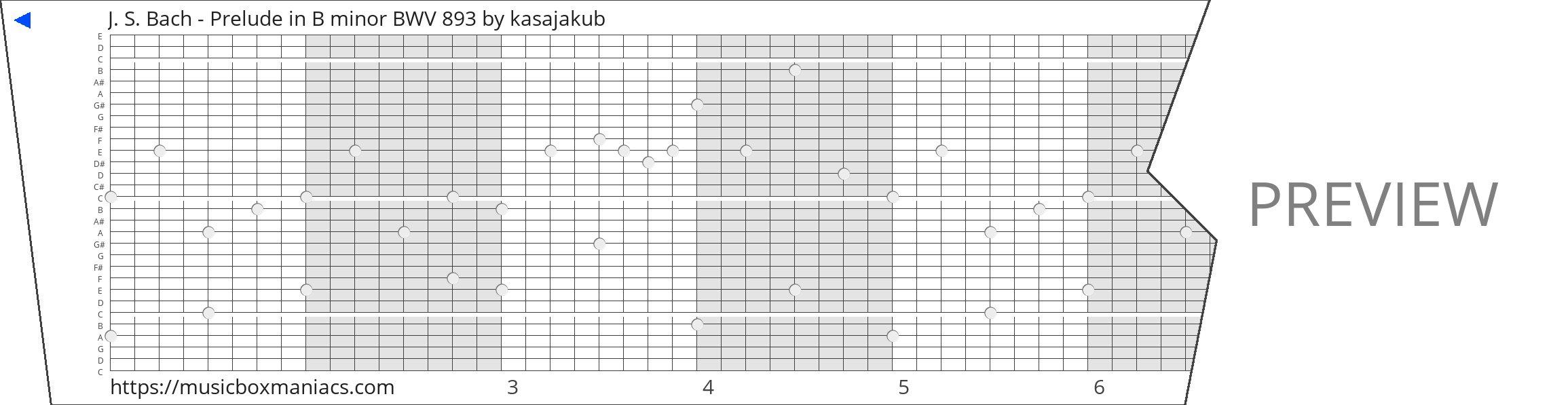 J. S. Bach - Prelude in B minor BWV 893 30 note music box paper strip