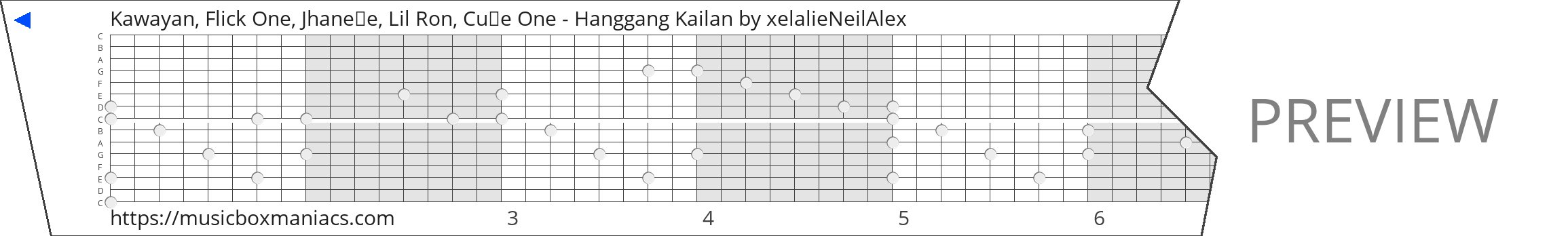 Kawayan, Flick One, Jhaneǁe, Lil Ron, Cu₨e One - Hanggang Kailan 15 note music box paper strip