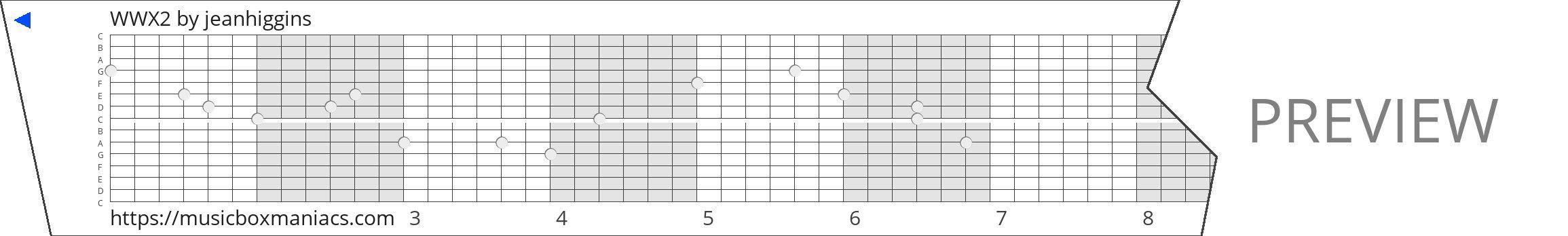 WWX2 15 note music box paper strip
