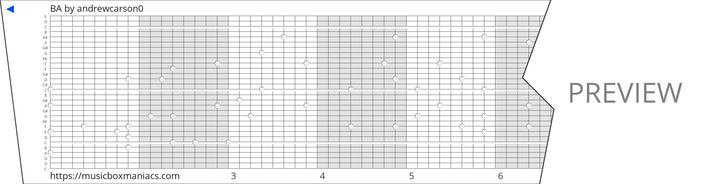 BA 30 note music box paper strip