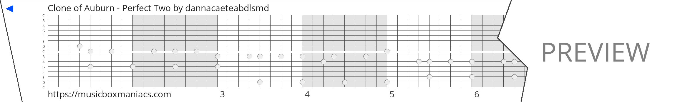 Clone of Auburn - Perfect Two 15 note music box paper strip