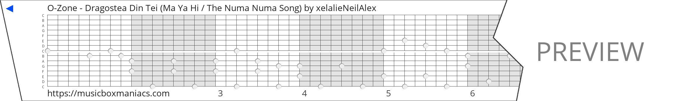 O-Zone - Dragostea Din Tei (Ma Ya Hi / The Numa Numa Song) 15 note music box paper strip