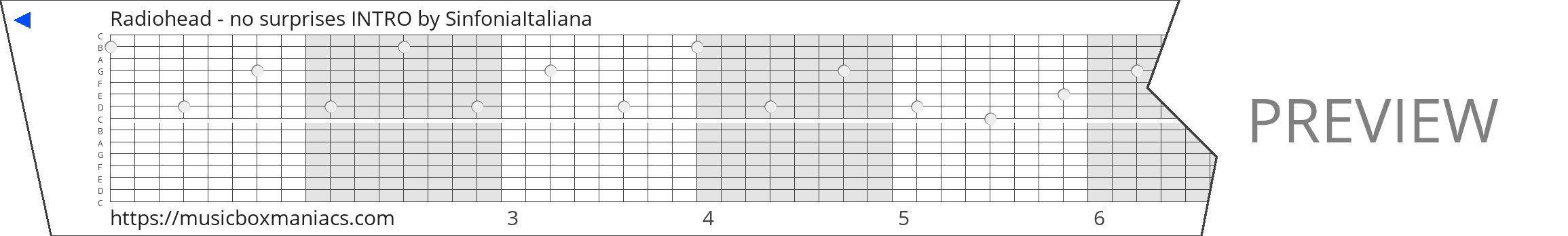 Radiohead - no surprises INTRO 15 note music box paper strip