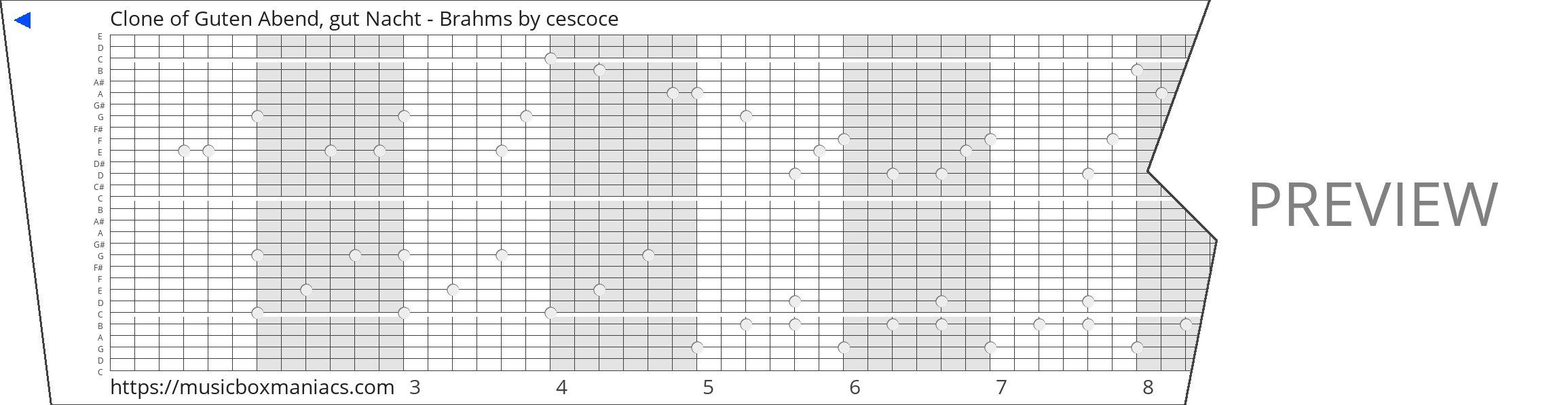 Clone of Guten Abend, gut Nacht - Brahms 30 note music box paper strip