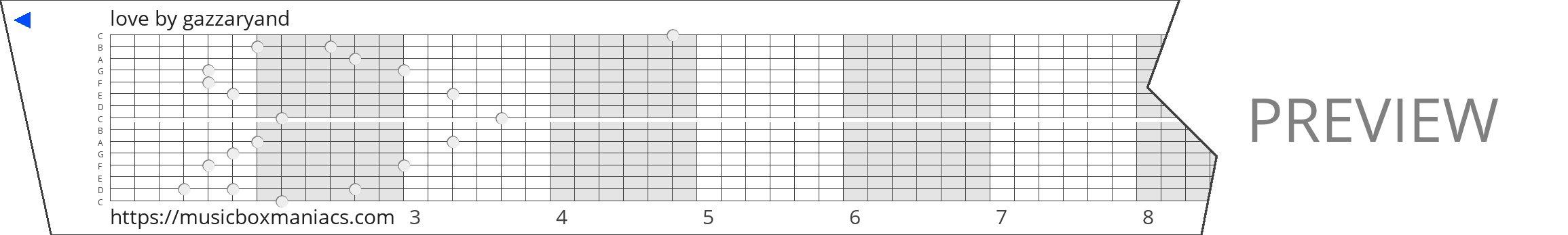 love 15 note music box paper strip
