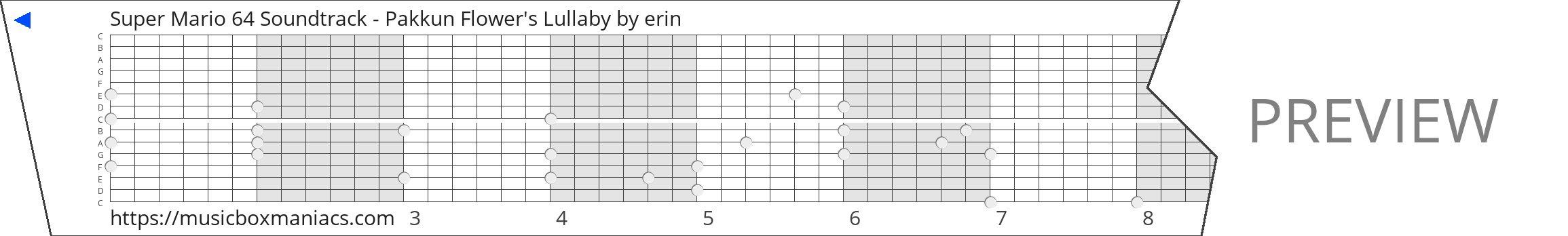 Super Mario 64 Soundtrack - Pakkun Flower's Lullaby 15 note music box paper strip