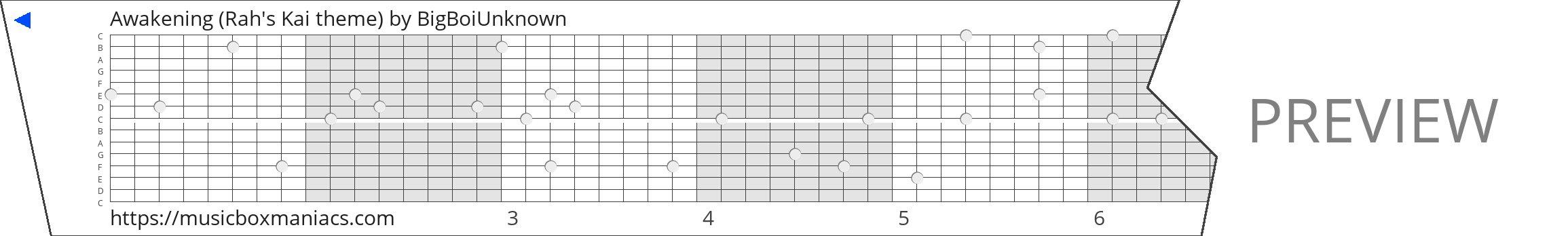 Awakening (Rah's Kai theme) 15 note music box paper strip