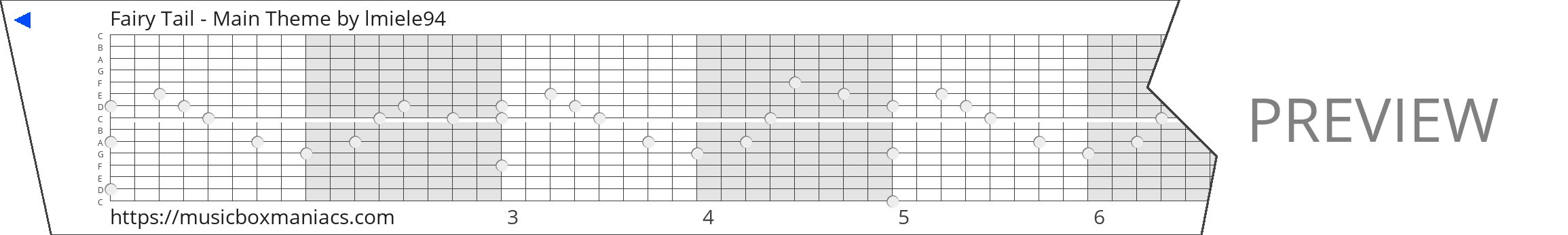 Fairy Tail - Main Theme 15 note music box paper strip
