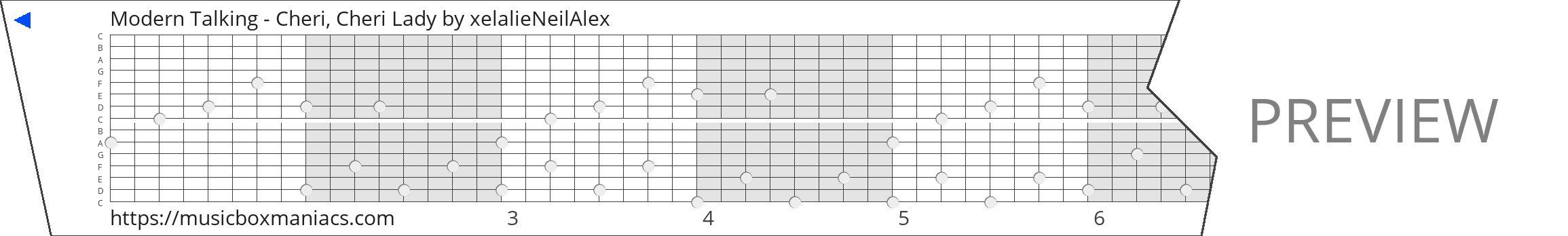Modern Talking - Cheri, Cheri Lady 15 note music box paper strip