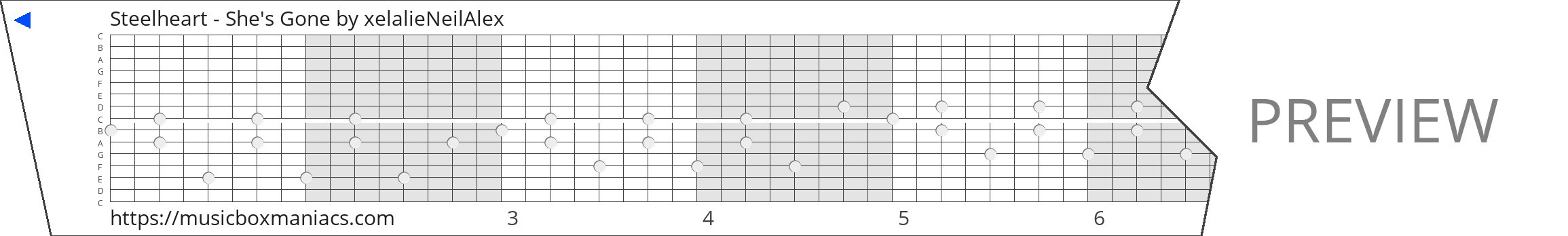 Steelheart - She's Gone 15 note music box paper strip