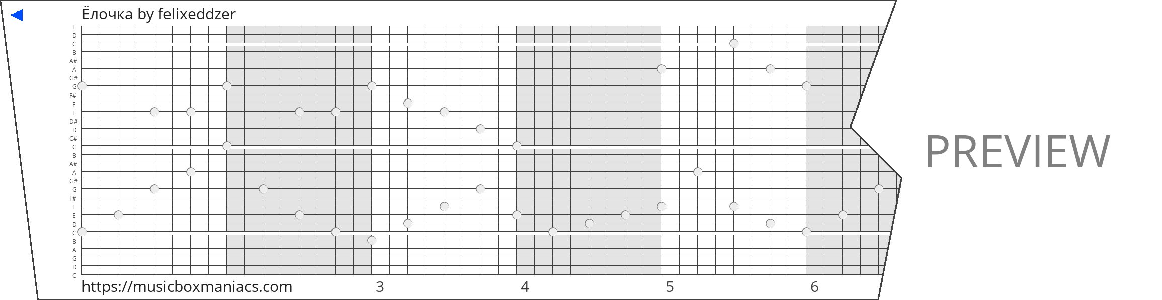 Ёлочка 30 note music box paper strip