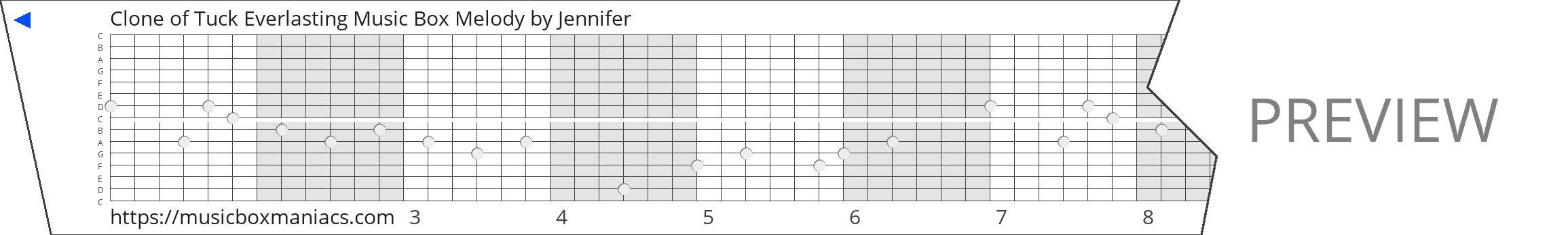 Clone of Tuck Everlasting Music Box Melody 15 note music box paper strip