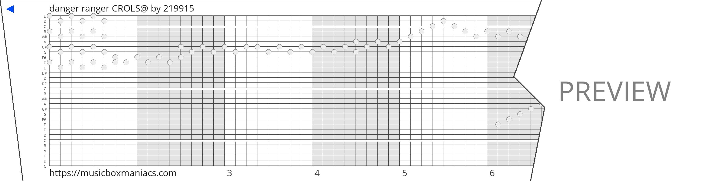 danger ranger CROLS@ 30 note music box paper strip