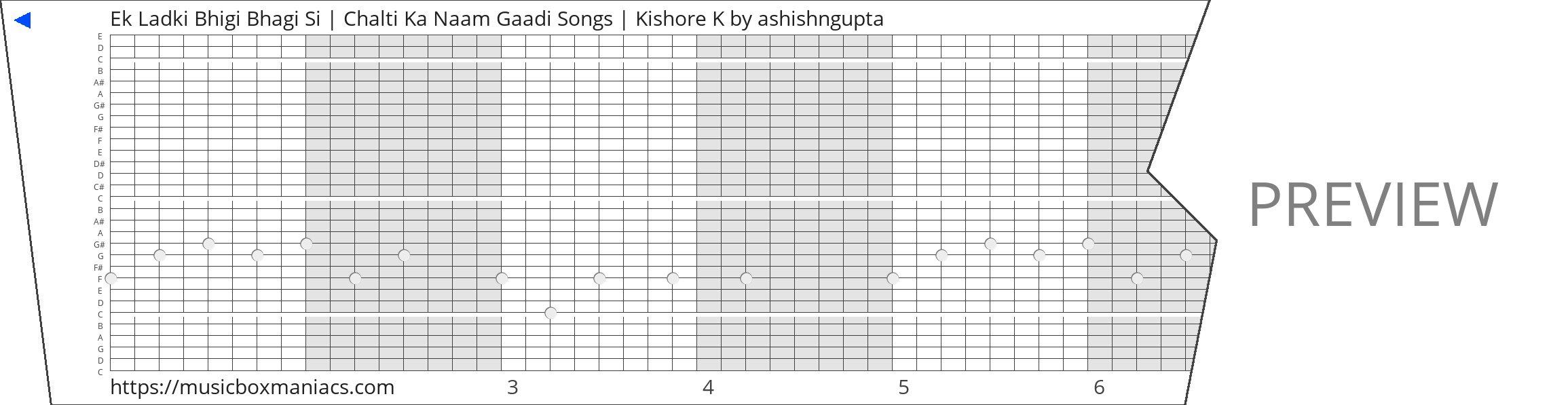 Ek Ladki Bhigi Bhagi Si   Chalti Ka Naam Gaadi Songs   Kishore K 30 note music box paper strip