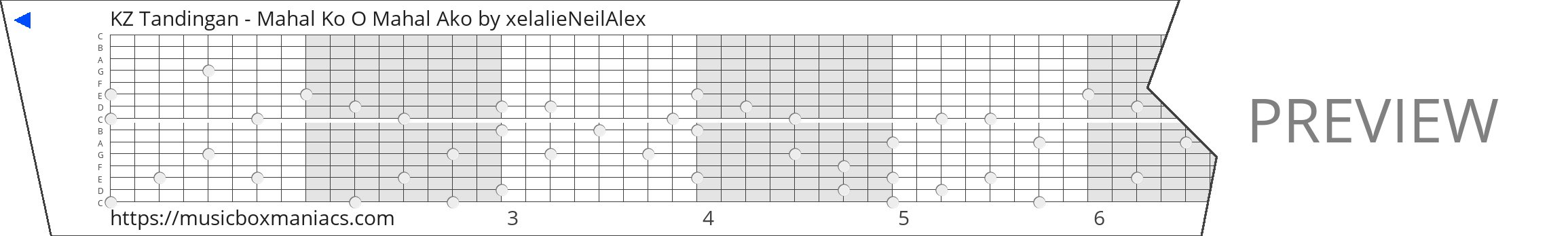 KZ Tandingan - Mahal Ko O Mahal Ako 15 note music box paper strip