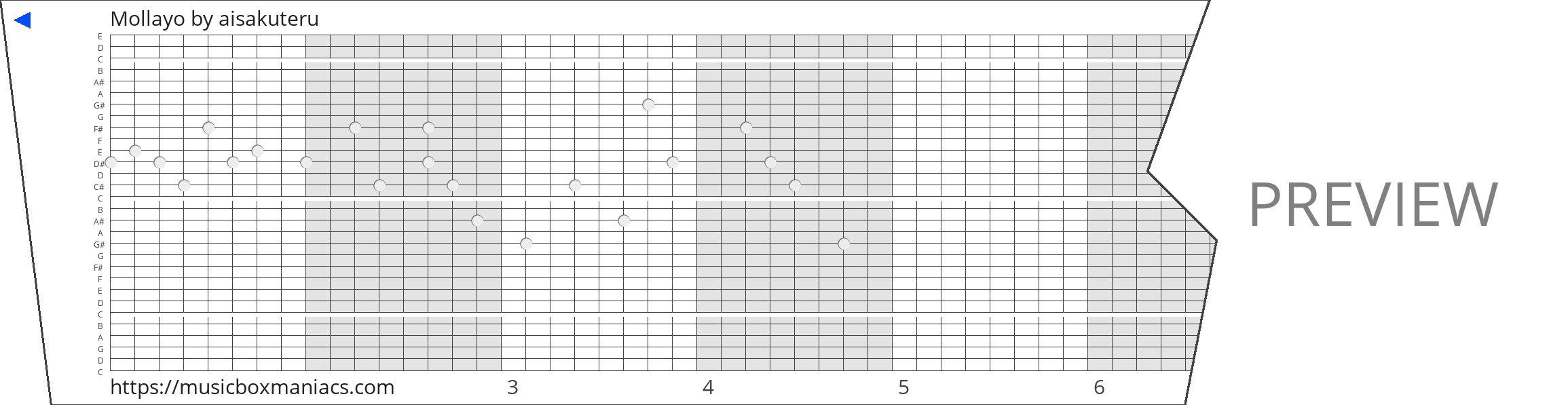 Mollayo 30 note music box paper strip