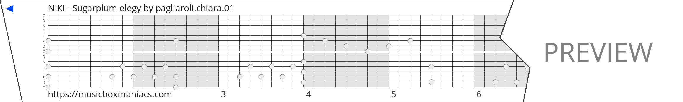 NIKI - Sugarplum elegy 15 note music box paper strip