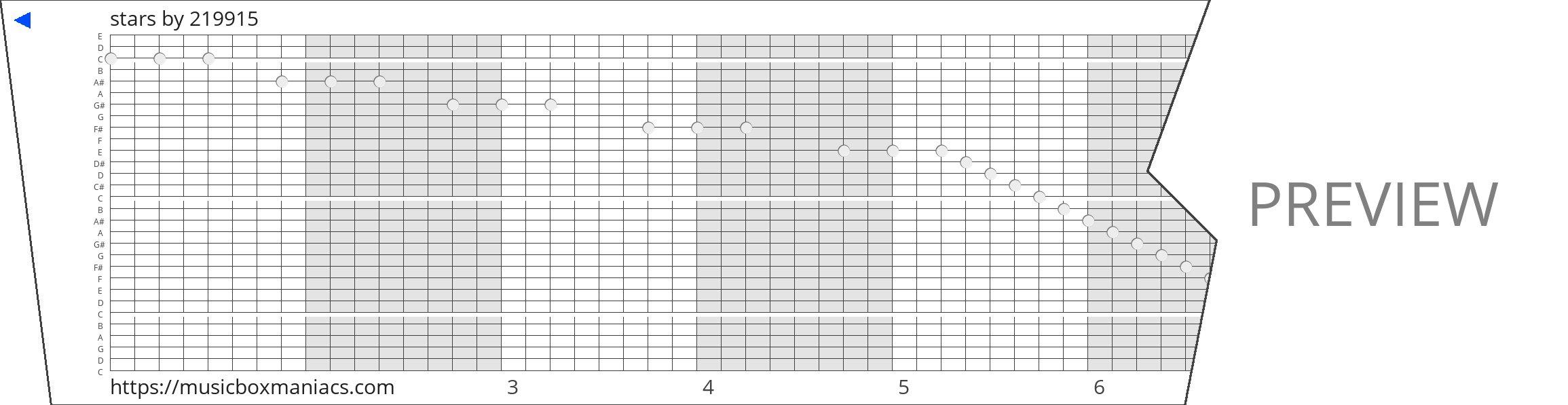 stars 30 note music box paper strip
