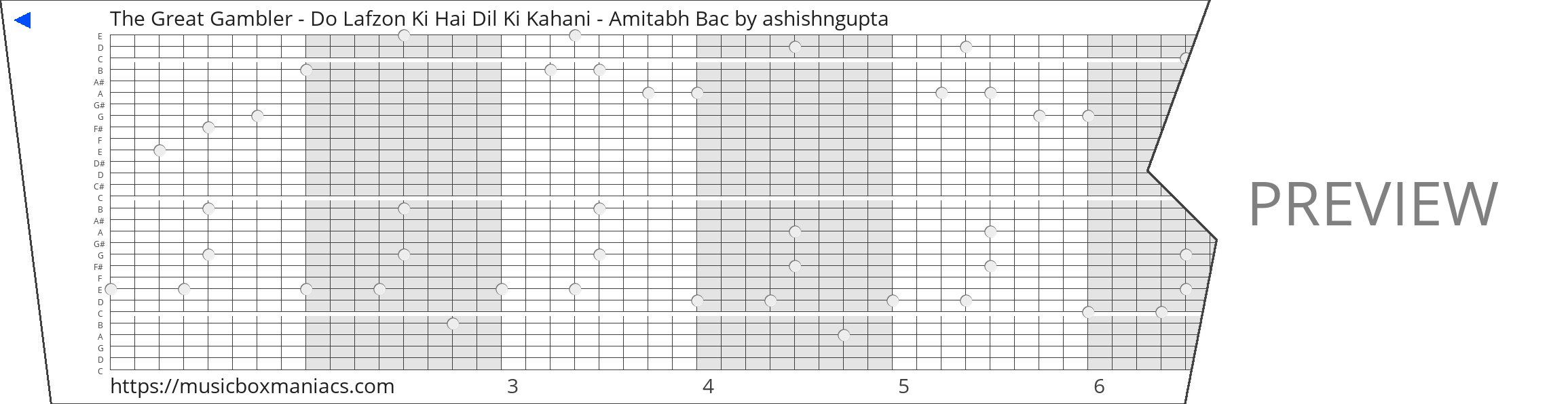 The Great Gambler - Do Lafzon Ki Hai Dil Ki Kahani - Amitabh Bac 30 note music box paper strip