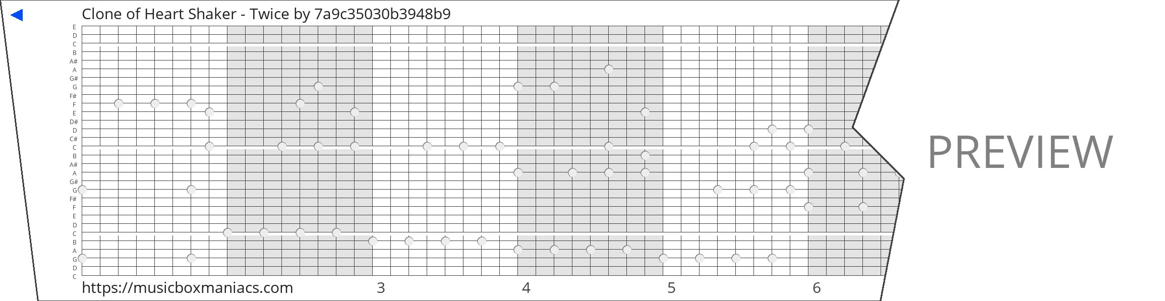 Clone of Heart Shaker - Twice 30 note music box paper strip