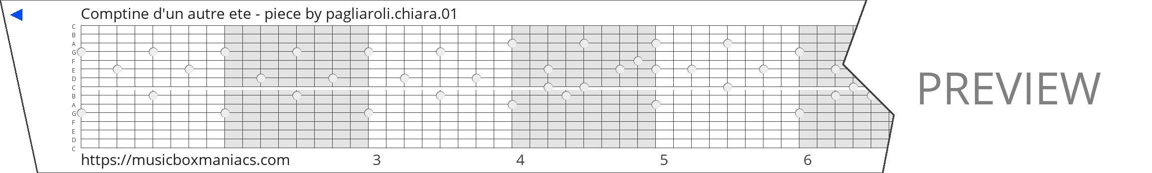 Comptine d'un autre ete - piece 15 note music box paper strip