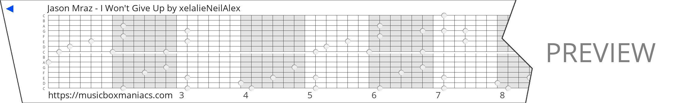Jason Mraz - I Won't Give Up 15 note music box paper strip