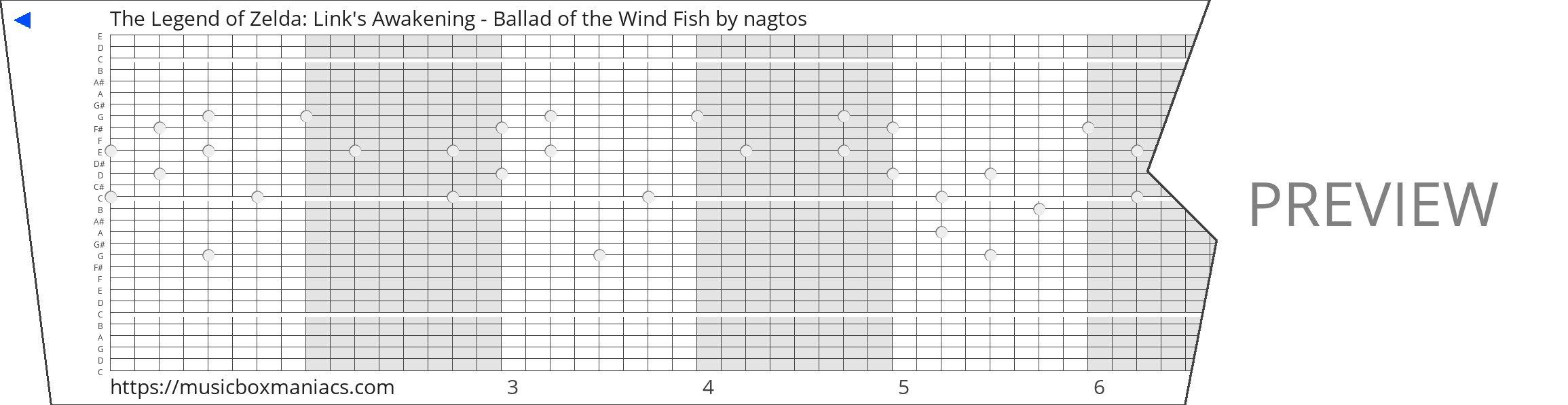 The Legend of Zelda: Link's Awakening - Ballad of the Wind Fish 30 note music box paper strip