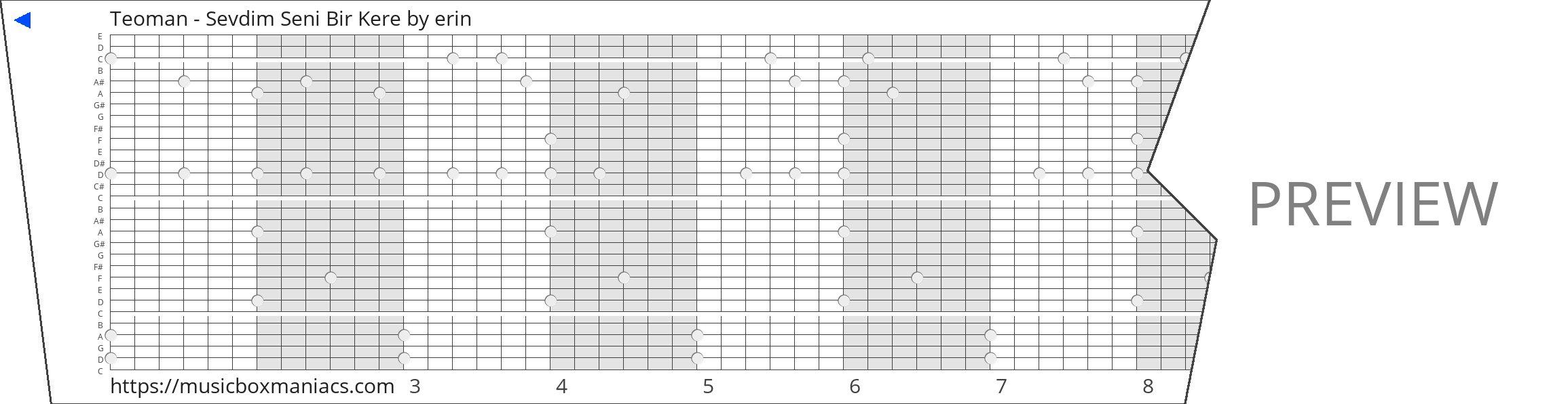 Teoman - Sevdim Seni Bir Kere 30 note music box paper strip
