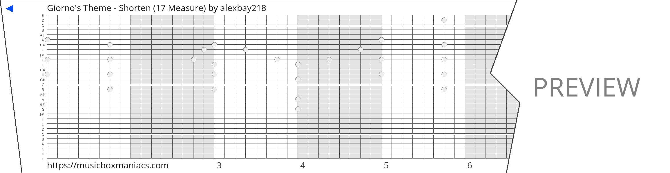 Giorno's Theme - Shorten (17 Measure) 30 note music box paper strip