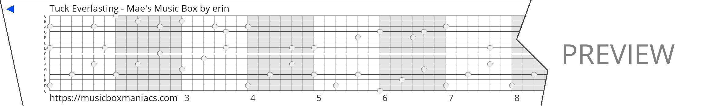 Tuck Everlasting - Mae's Music Box 15 note music box paper strip