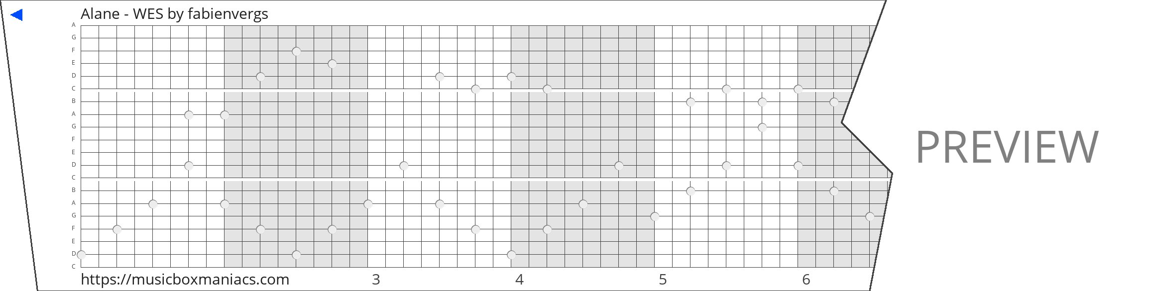 Alane - WES 20 note music box paper strip