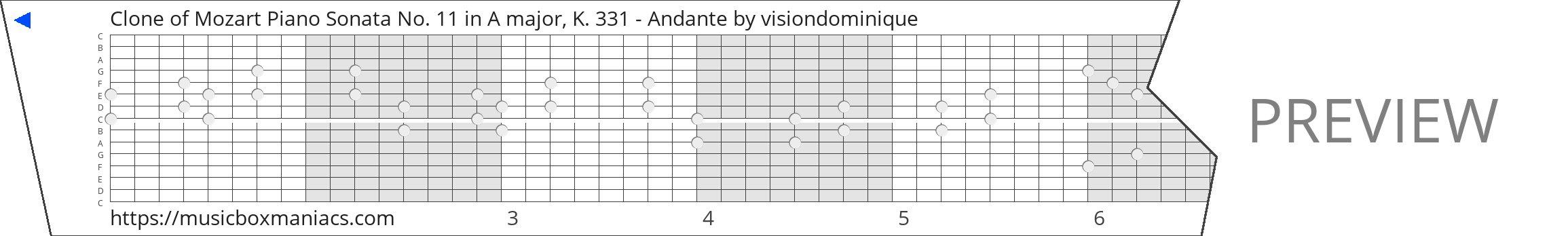 Clone of Mozart Piano Sonata No. 11 in A major, K. 331 - Andante 15 note music box paper strip