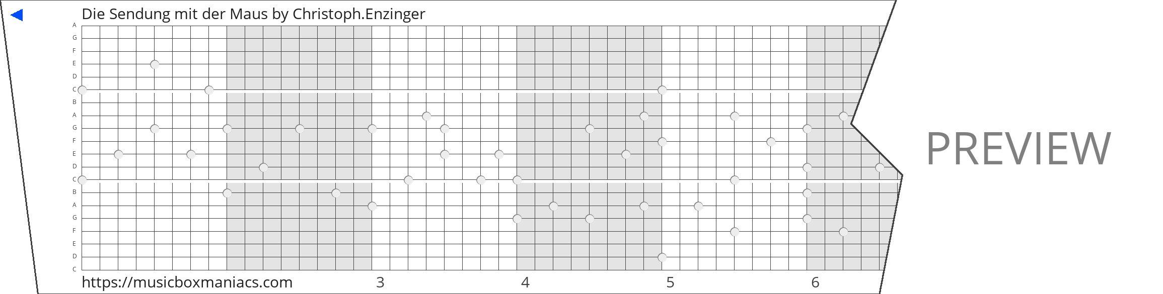 Die Sendung mit der Maus 20 note music box paper strip