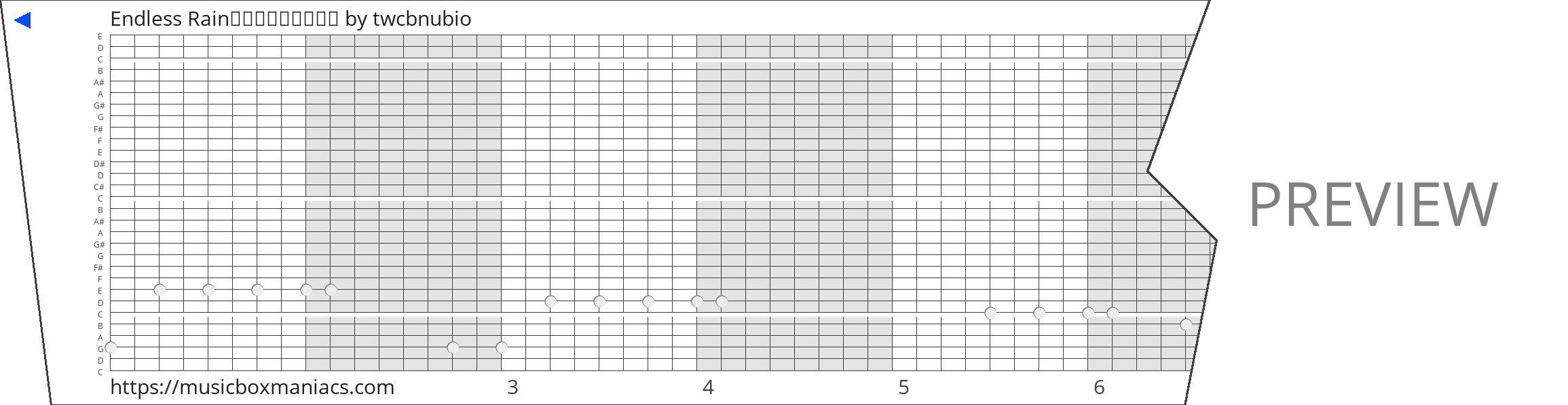 Endless Rain三十音盒(复杂版) 30 note music box paper strip