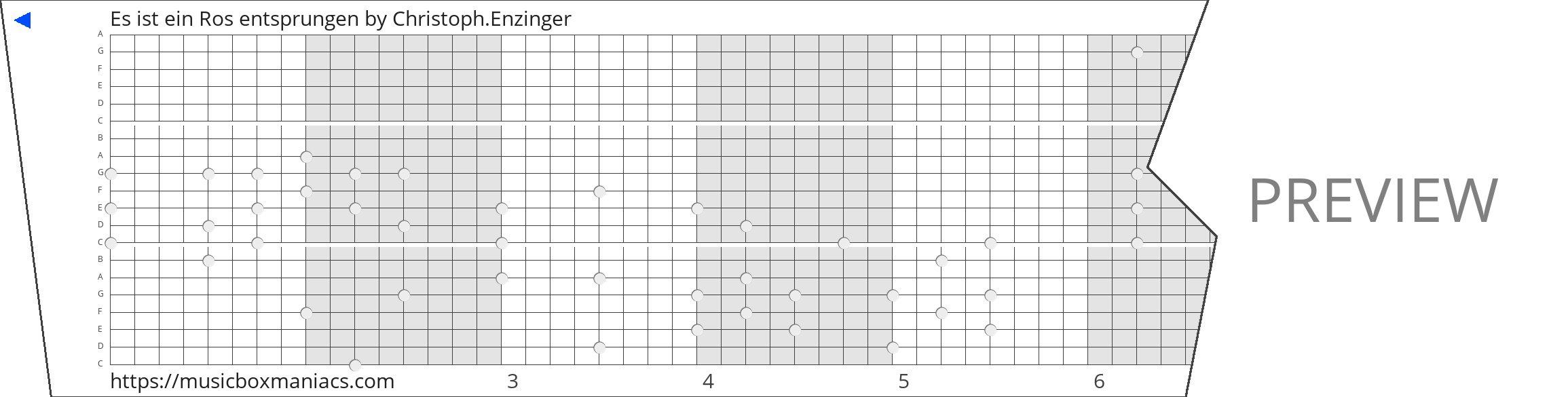 Es ist ein Ros entsprungen 20 note music box paper strip