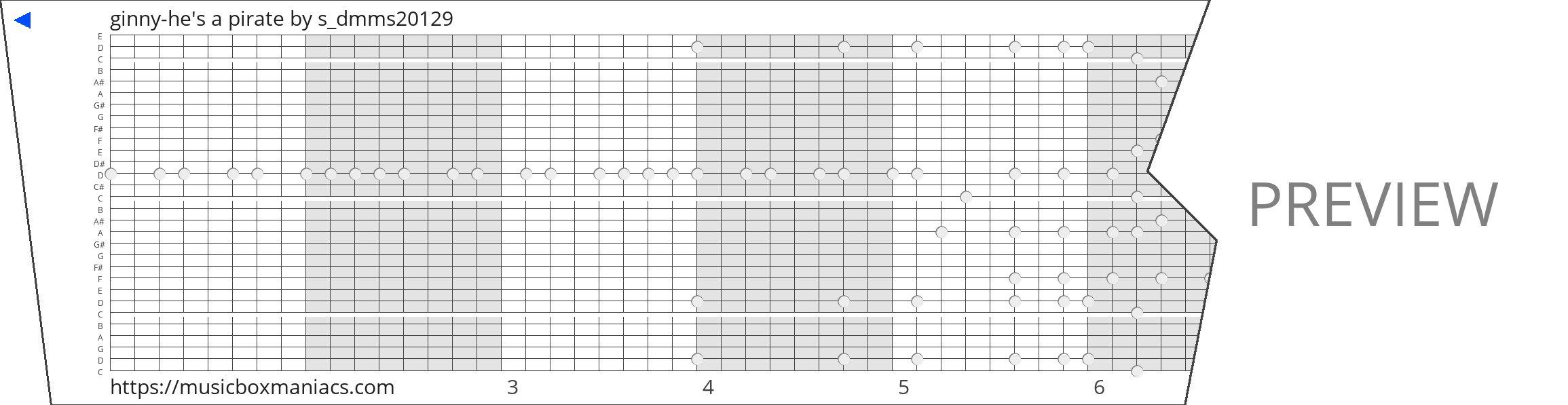 ginny-he's a pirate 30 note music box paper strip