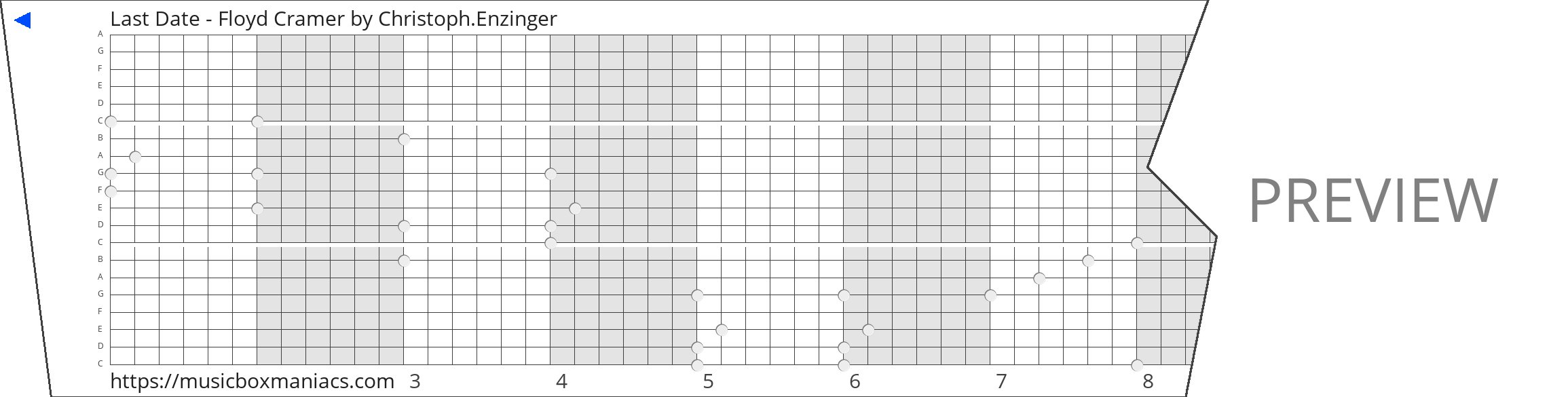 Last Date - Floyd Cramer 20 note music box paper strip