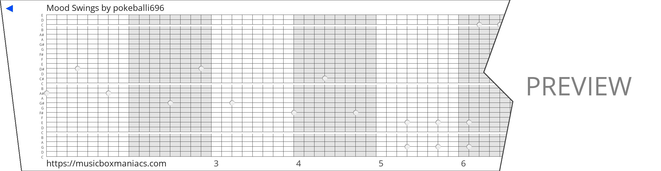Mood Swings 30 note music box paper strip