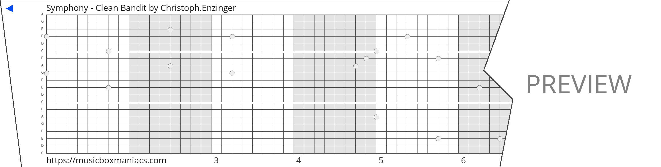 Symphony - Clean Bandit 20 note music box paper strip