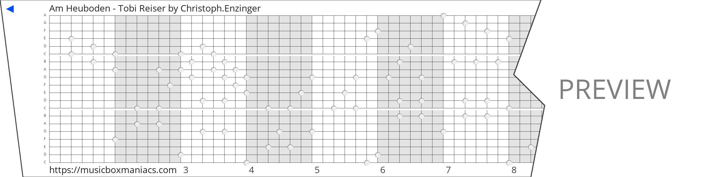 Am Heuboden - Tobi Reiser 20 note music box paper strip
