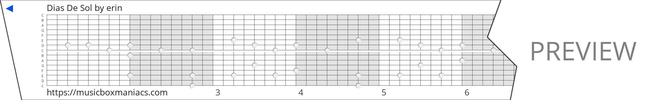 Dias De Sol 15 note music box paper strip