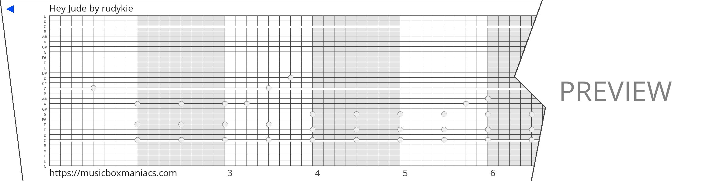 Hey Jude 30 note music box paper strip