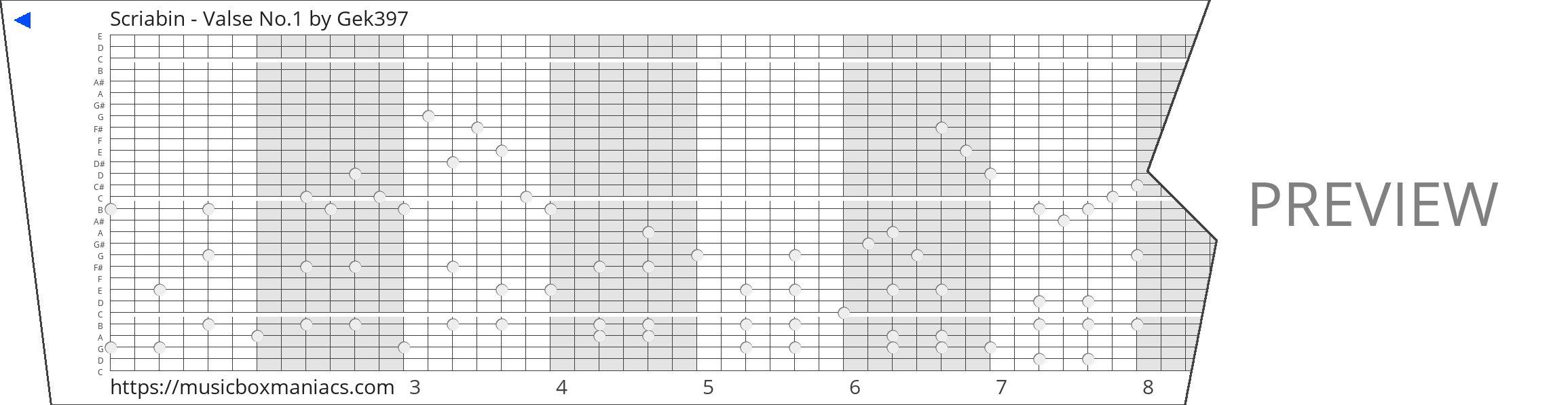 Scriabin - Valse No.1 30 note music box paper strip