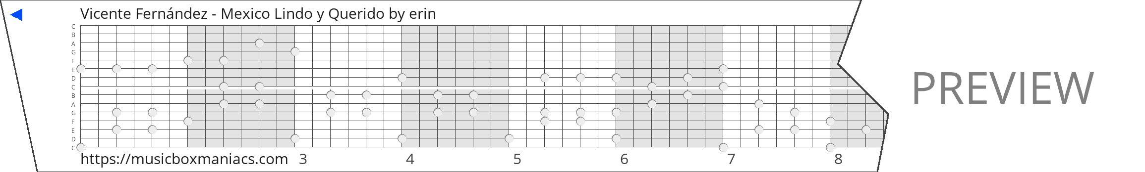 Vicente Fernández - Mexico Lindo y Querido 15 note music box paper strip