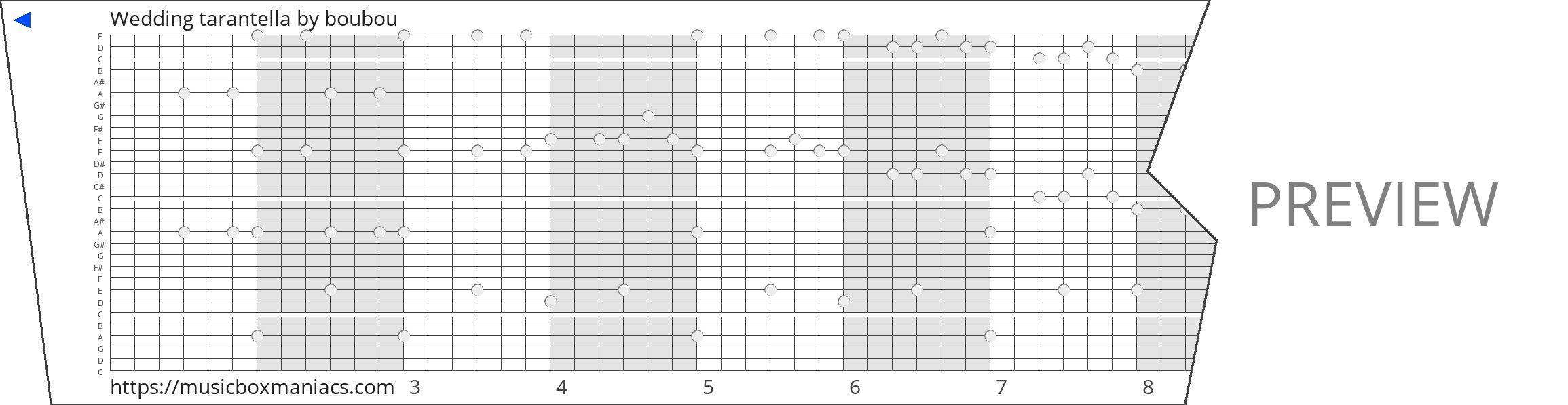 Wedding tarantella 30 note music box paper strip