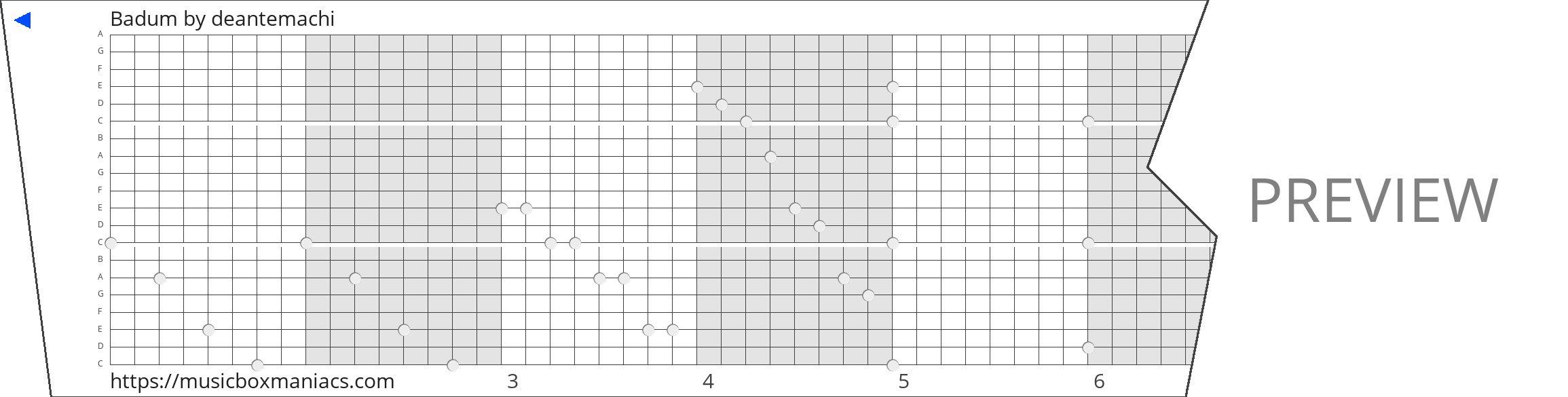 Badum 20 note music box paper strip