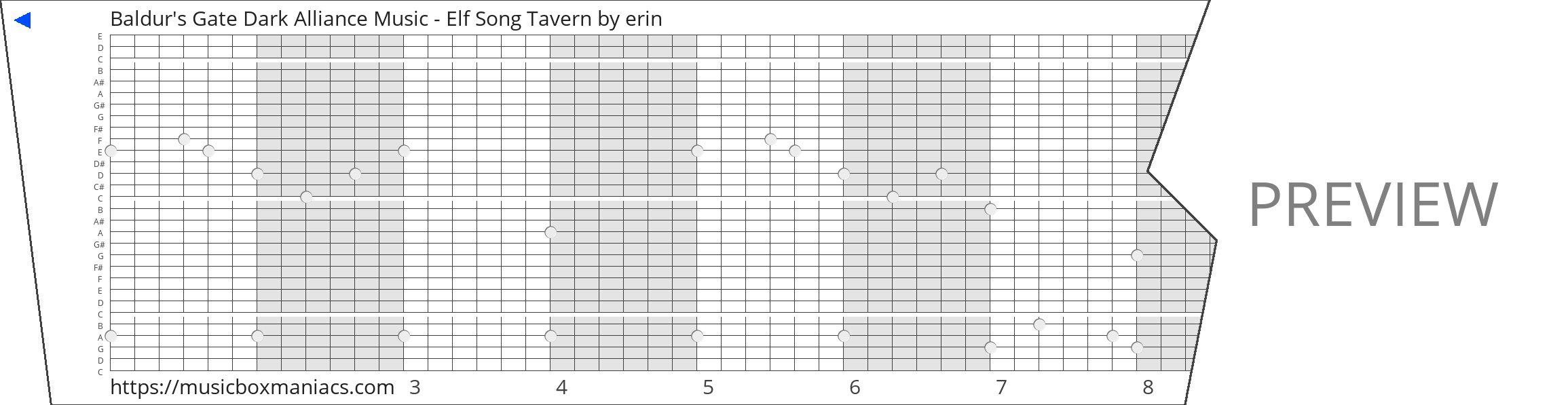 Baldur's Gate Dark Alliance Music - Elf Song Tavern 30 note music box paper strip